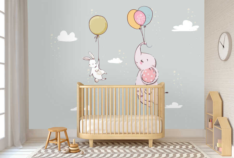 Elephant and white bunny flying with balloons baby wall mural