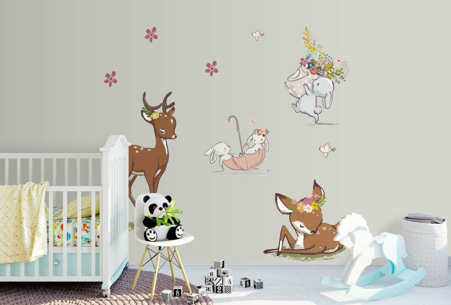 Bunny and foal gazelle playing in Flowers baby wall mural