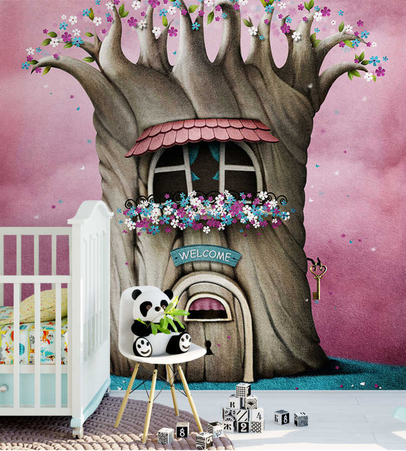 Cute tree house in fairy tale forest baby room wall mural