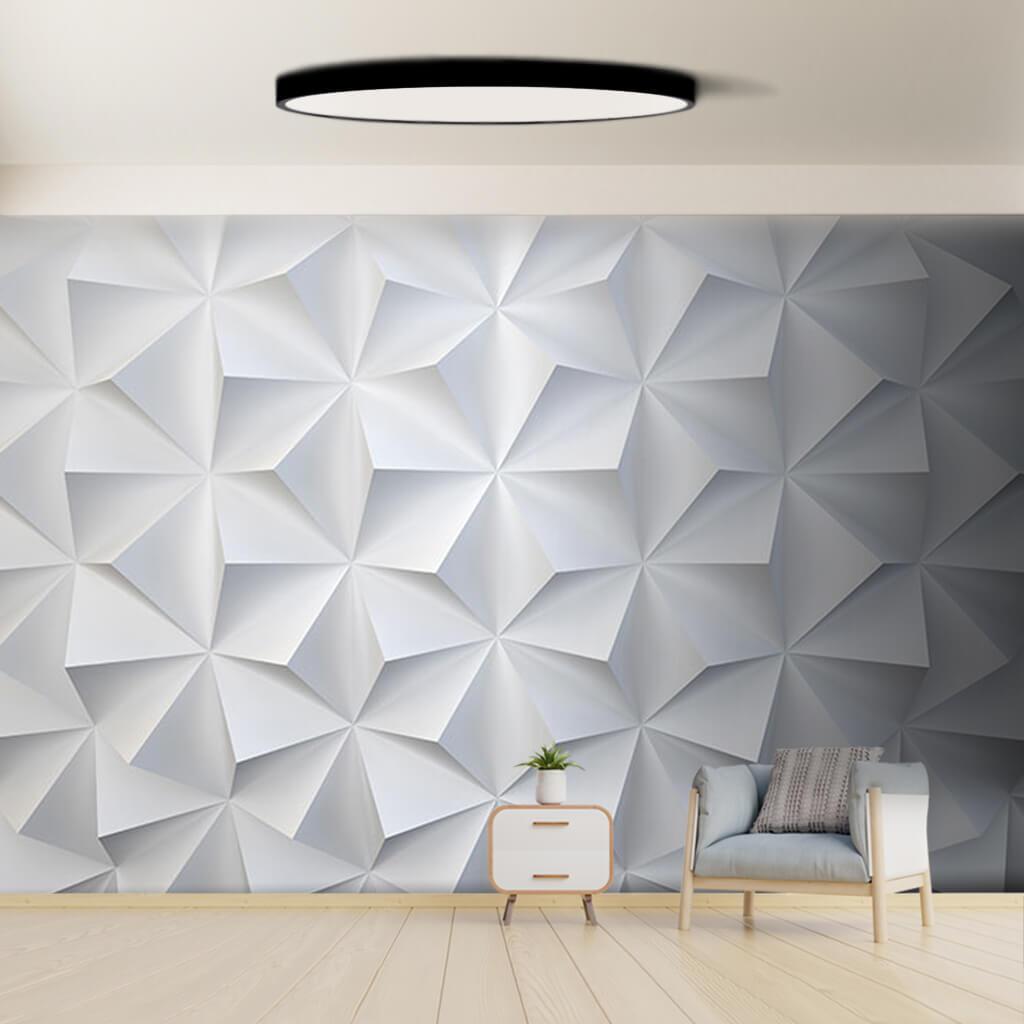 Beyaz üçgen prizma kabartma desen 3 boyutlu desen duvar kağıdı