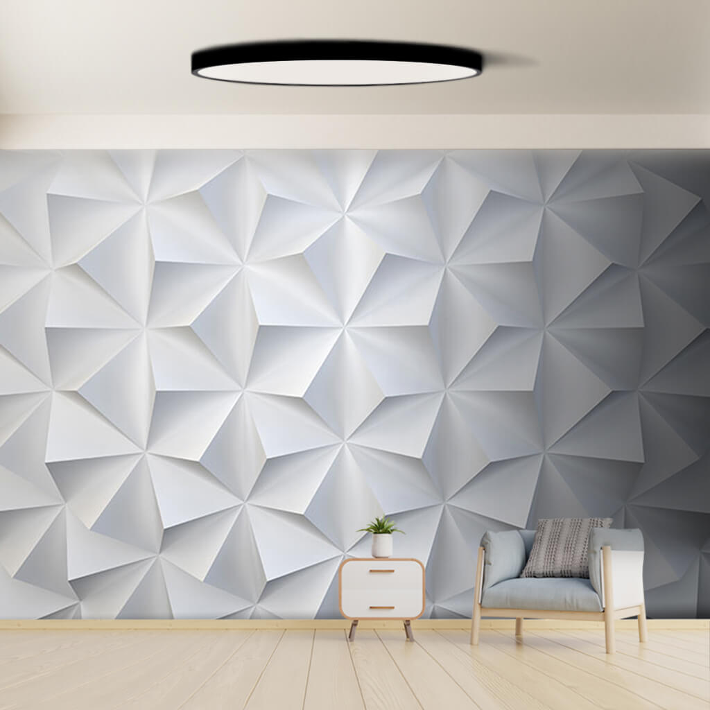 White Triangle Prism Relief Pattern 3D Pattern wall mural