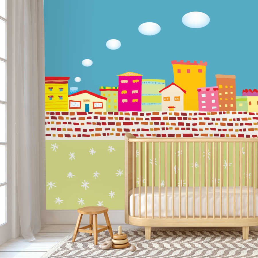City behind the brick wall baby room wall mural