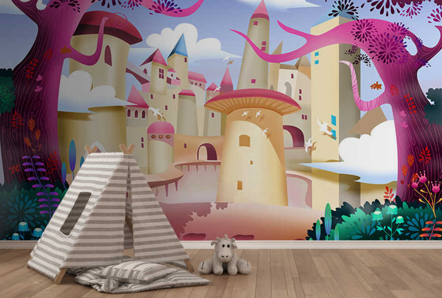 Fairy tale city and castle in the jungle baby room wall mural