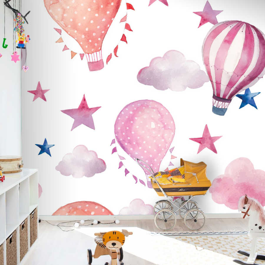 Colorful flying balloons in the sky baby room wall mural