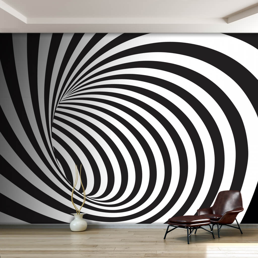 Black and white abstract swirl spiral 3D custom wall mural