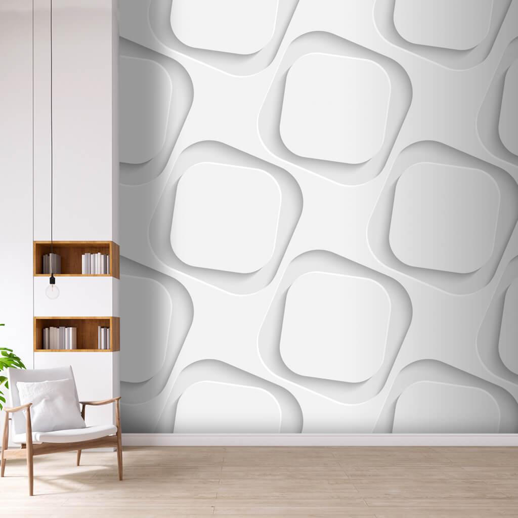 Derinlik algılı beyaz kareler desenli 3 boyutlu duvar kağıdı