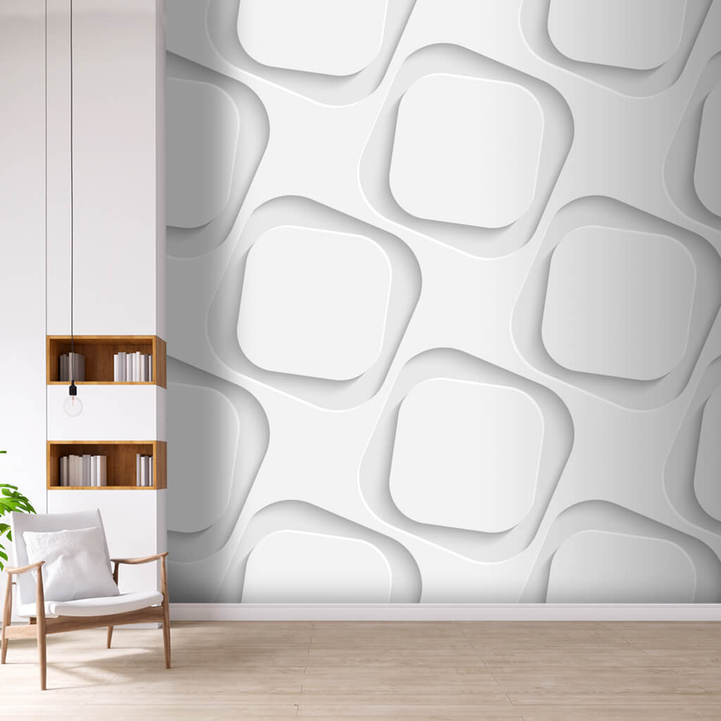 White perforated pattern with depth detection 3D white squares