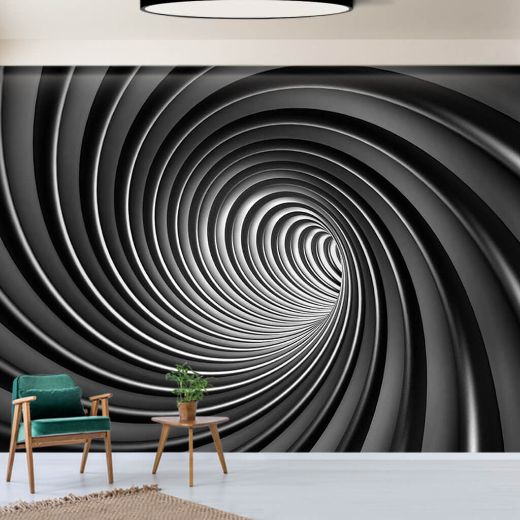 Black and white spiral lines swirl 3D custom wall mural
