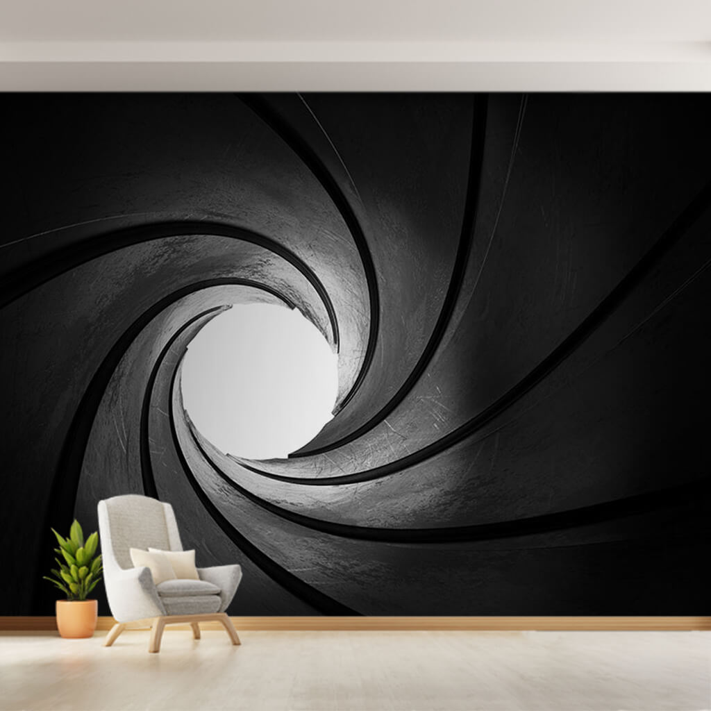 Inside of black rifling barrel 007 James Bond 3D wall mural