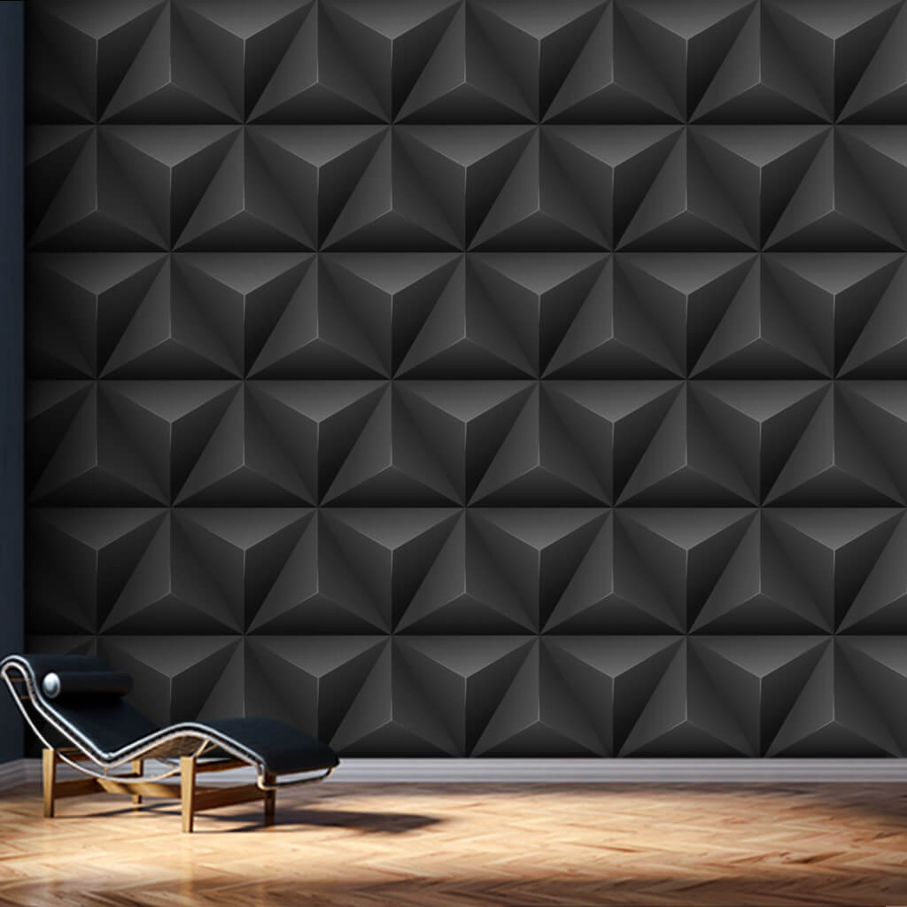Black triangle pyramids prestige 3D scalable wall mural