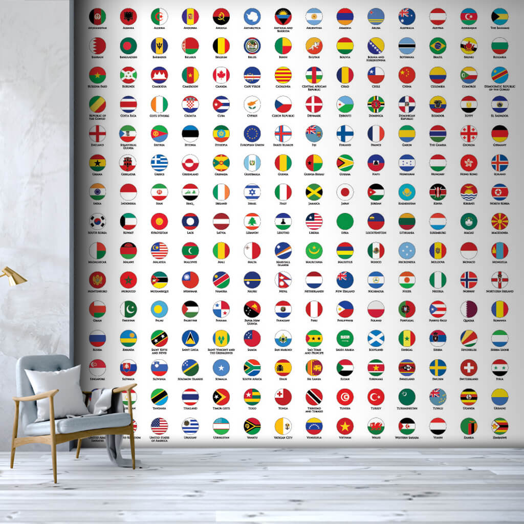 Round country flags colorful scalable custom wall mural