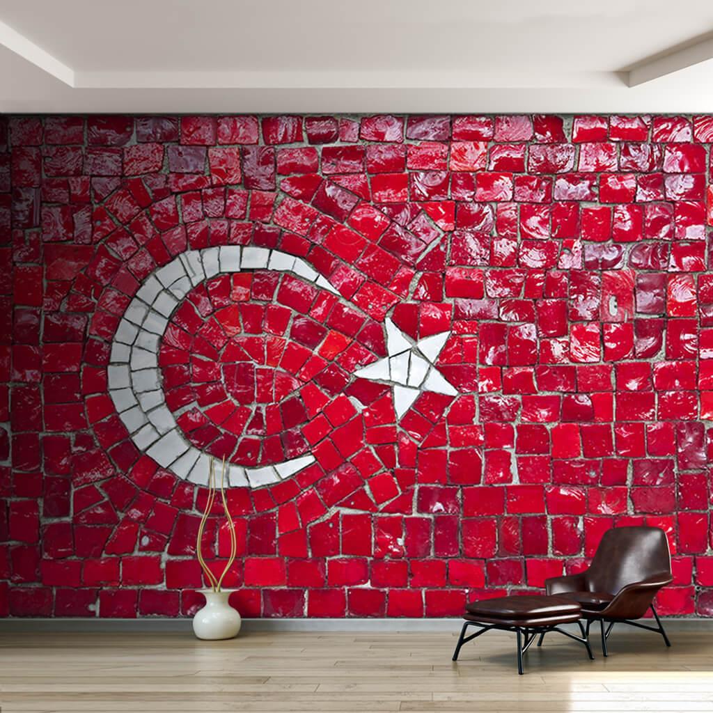 Red and white Turkish flag mosaic Turkey custom wall mural