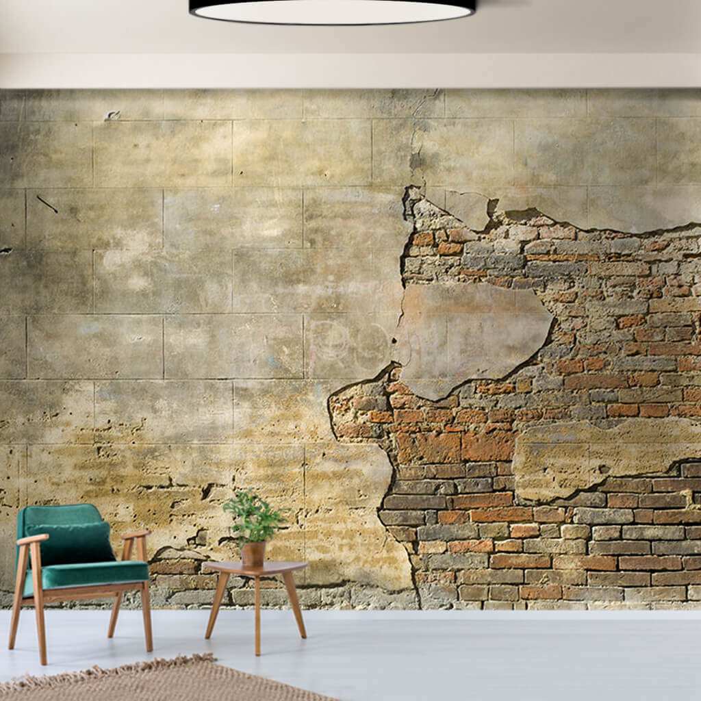 Brick wall poured concrete plaster custom scalable wall mural