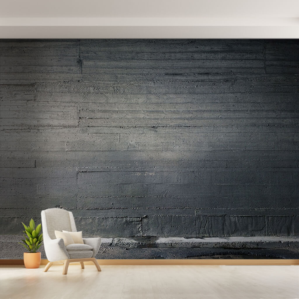 Horizontal wooden plank pattern traces in concrete wall mural