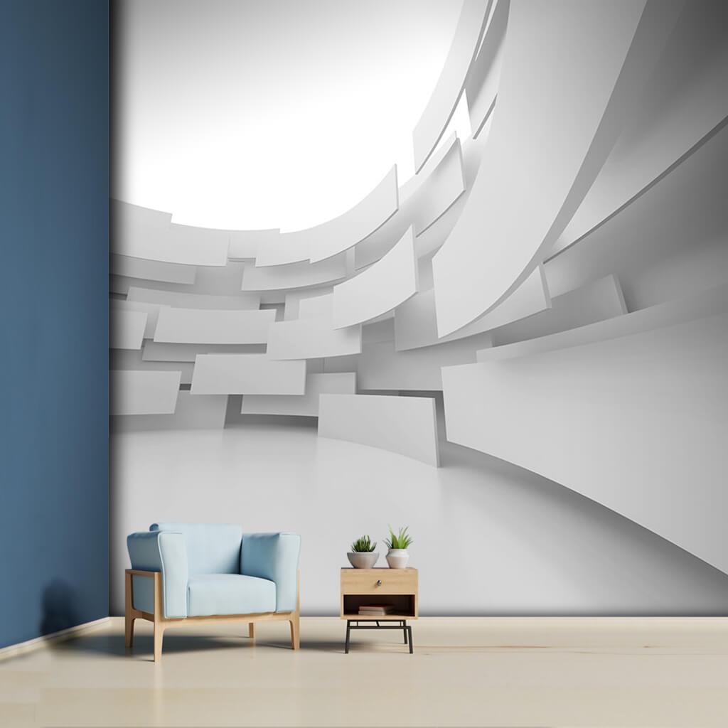 Havada asılı duran beyaz alçı paneller 3 boyutlu duvar kağıdı