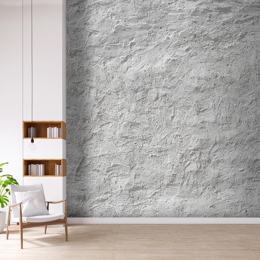 White cement rough plaster concrete custom wall mural