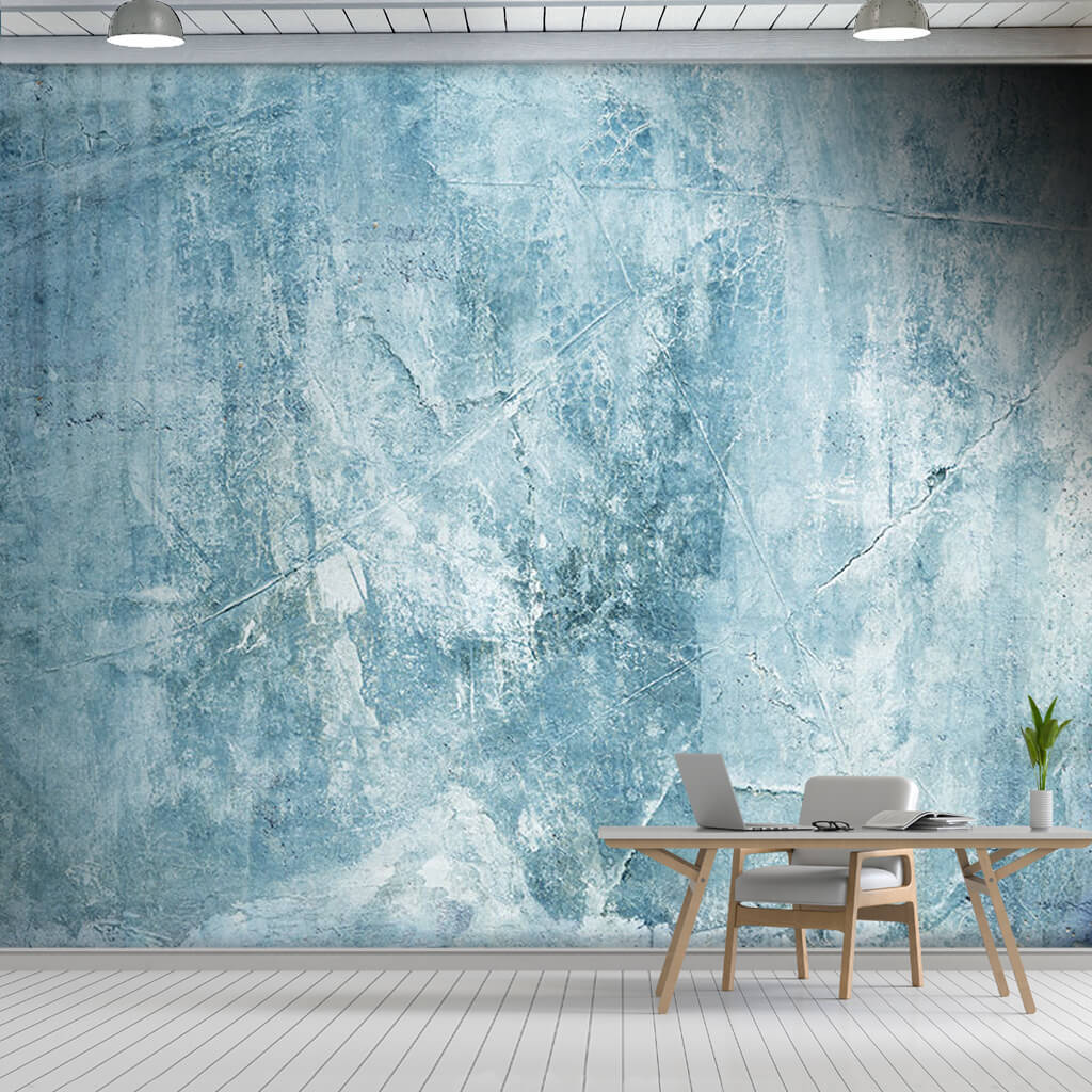 Blue tumbled concrete with trowel traces custom wall mural