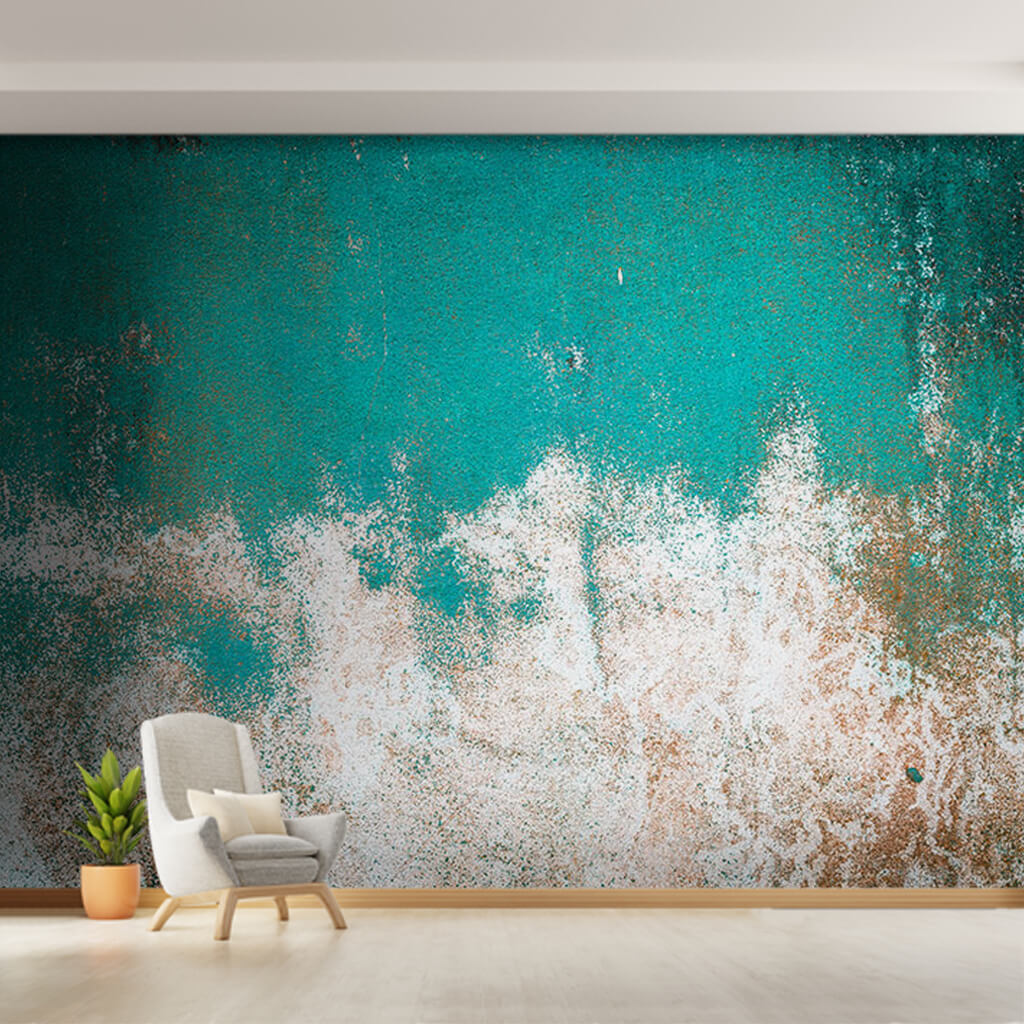 Antique painted turquoise green and rust traces wall mural