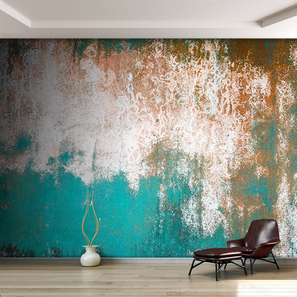 Tumbled turquoise green painted simple concrete wall mural