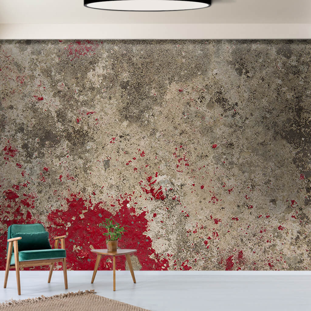 Poured red painted aging concrete scalable custom wall mural