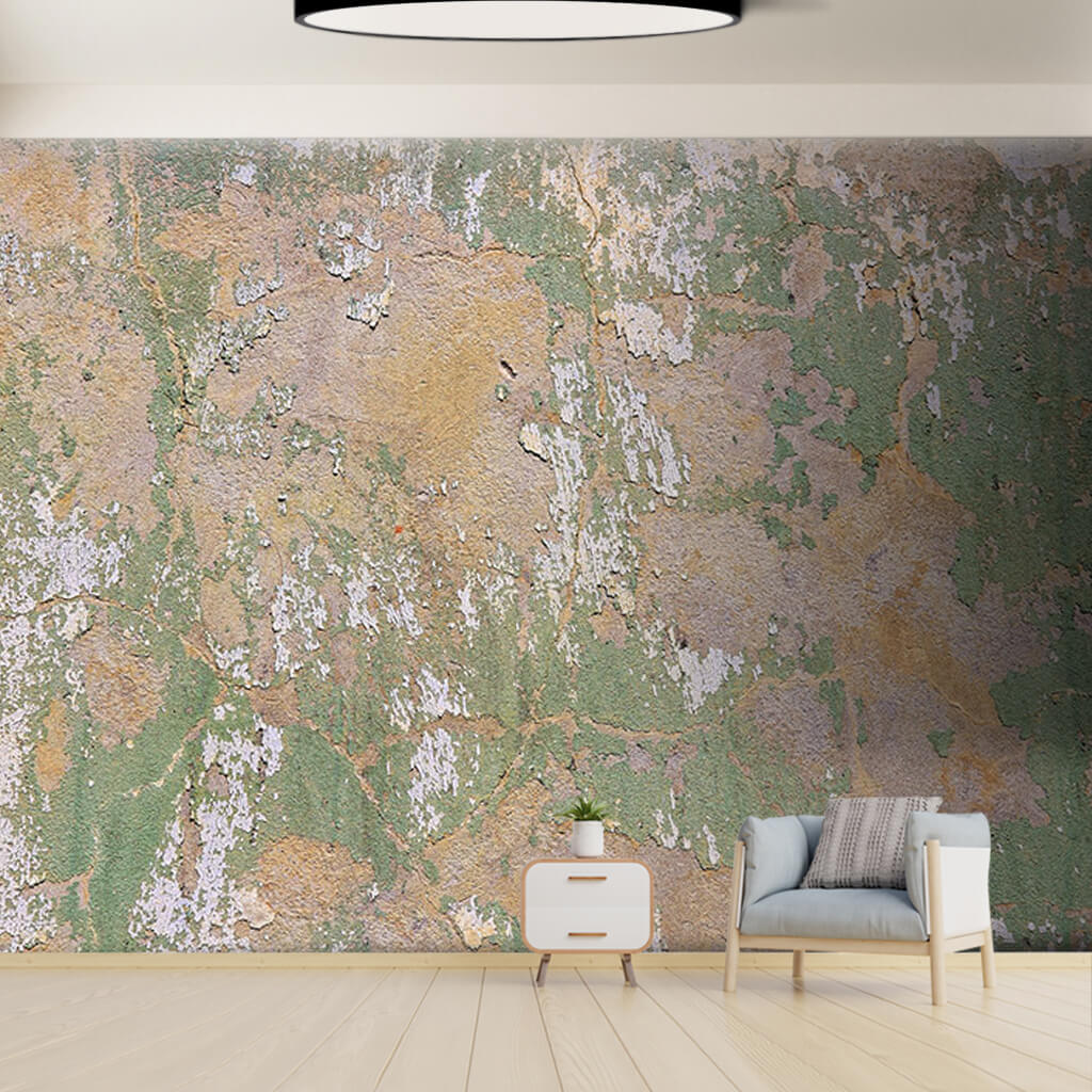 Grungy green henna colored grunge textured wall mural