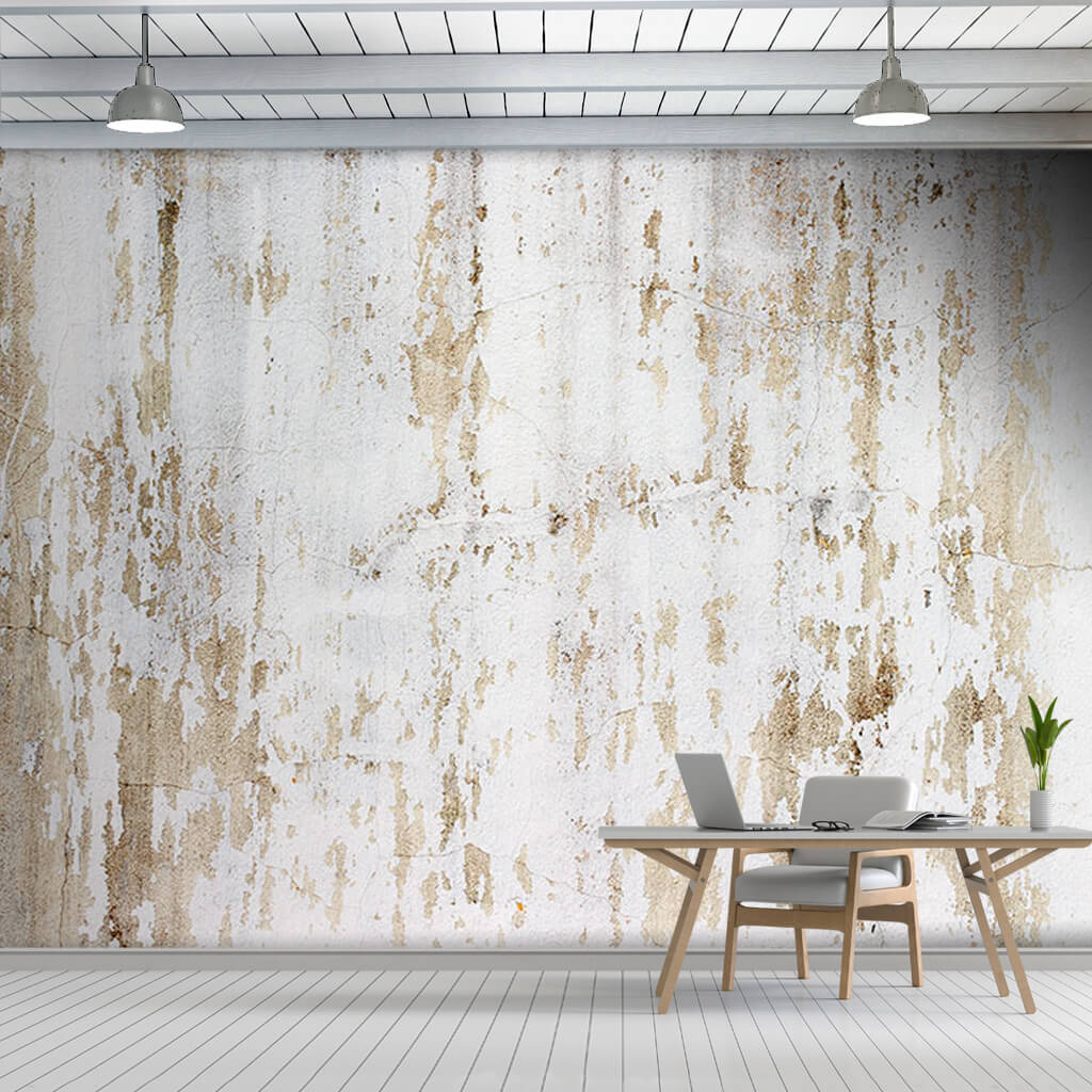 Whitewashed painted brown dirty custom scalable wall mural