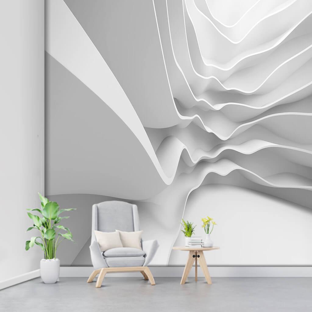 Dalga efektli beyaz alçı duvar 3 boyutlu duvar kağıdı