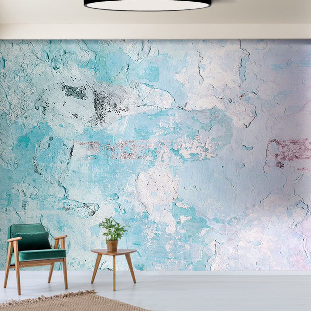 Worn rough plaster blue white concrete custom wall mural