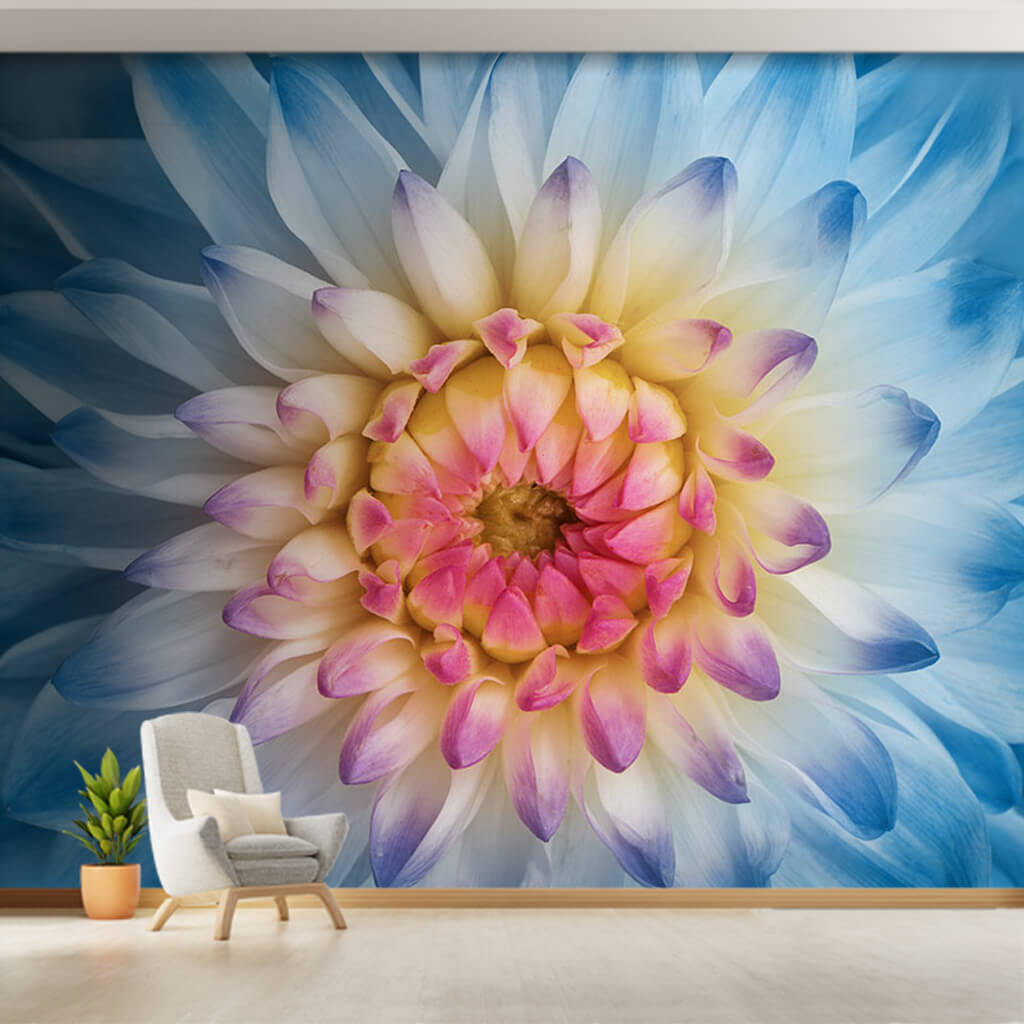 Blue white pink blooming dahlia flower wall mural