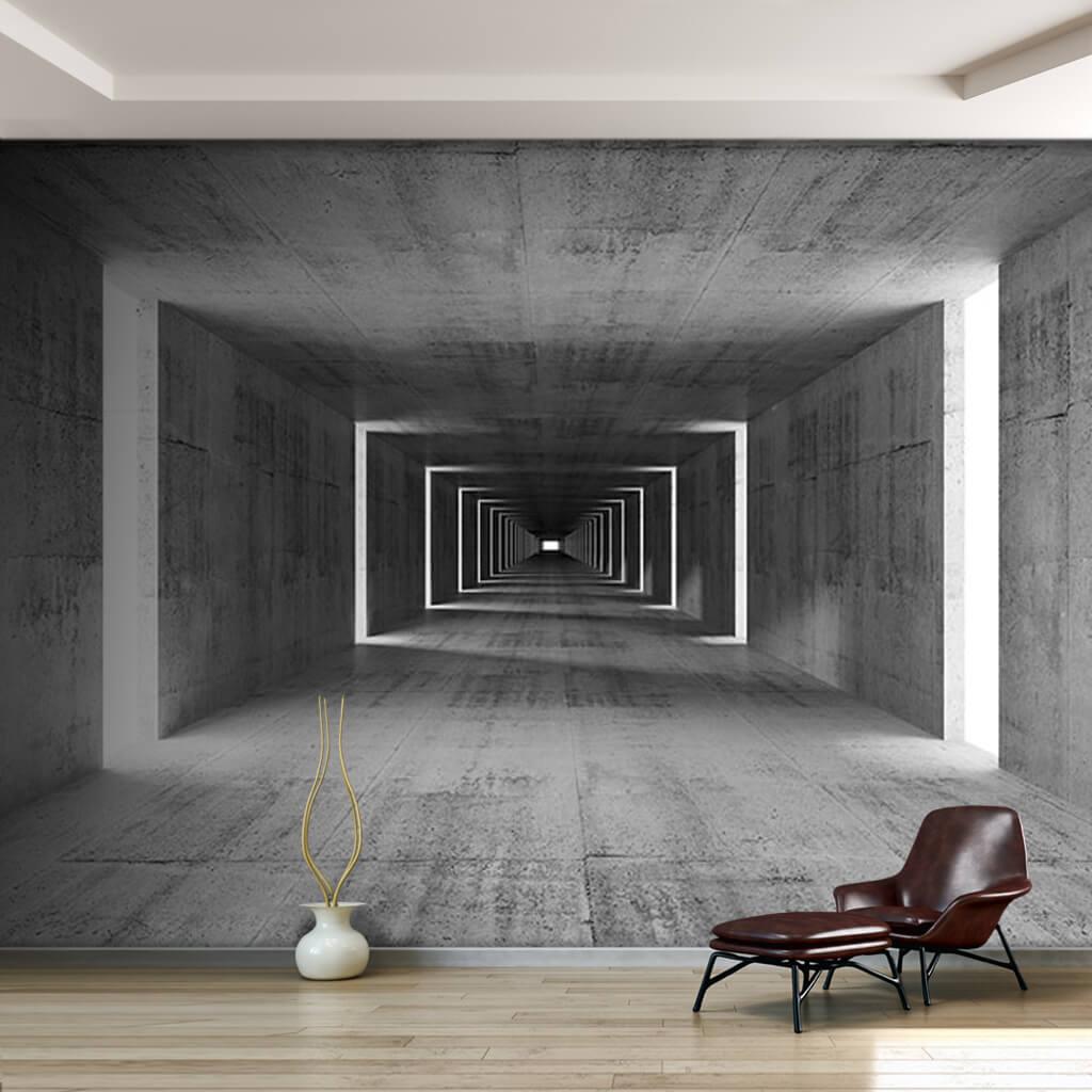 Dikdörtgen beton tünel, derinlik, gri, 3 boyutlu duvar kağıdı.