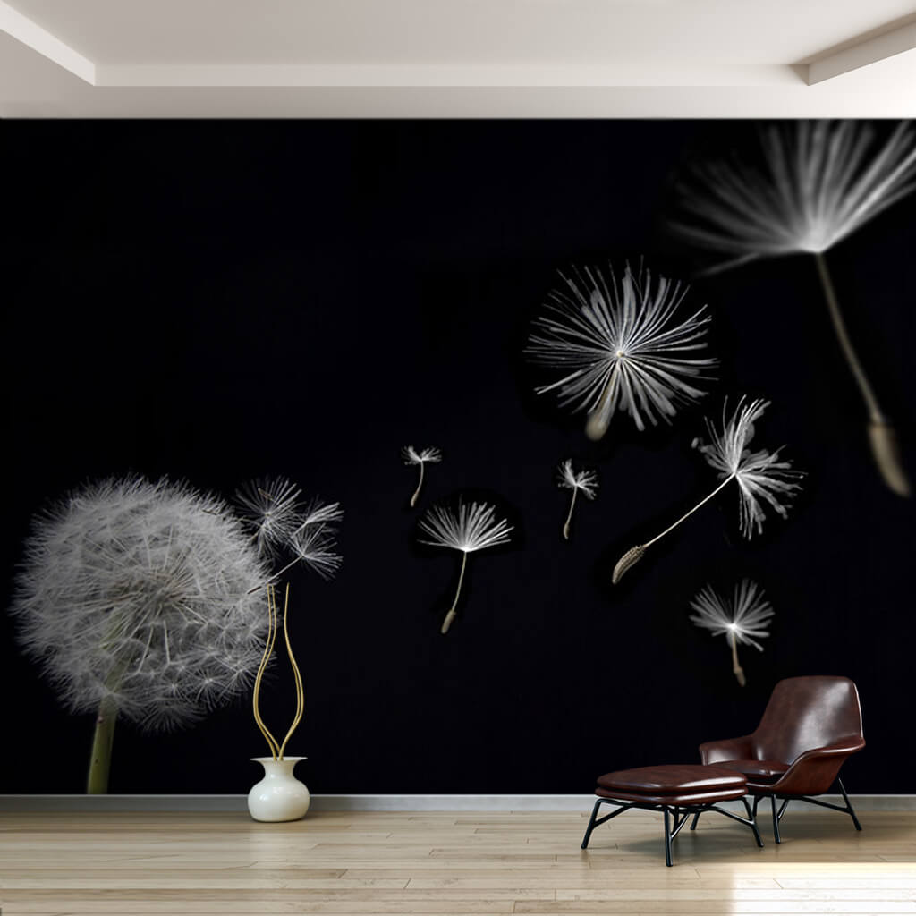 Flying Dandelion Seeds In Black Night Flower Wall Mural