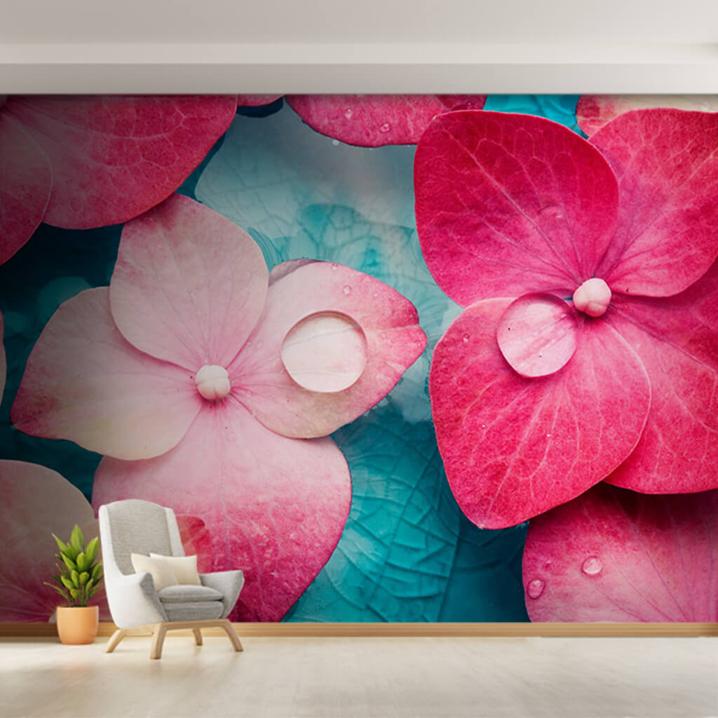 Blooming pink fuchsia colored violet customizable wall mural