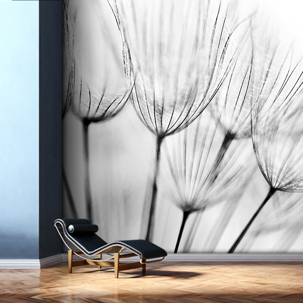 Black and white melancholy abstract floral wall mural