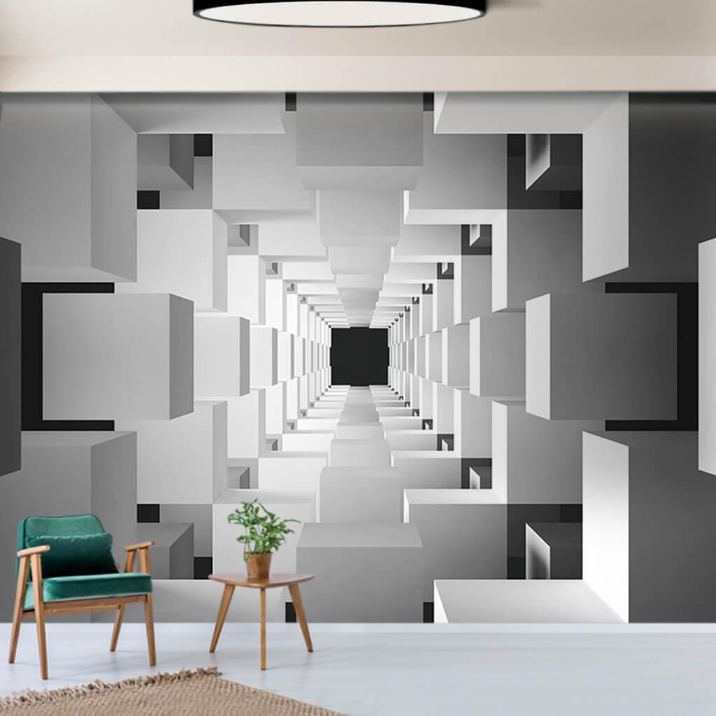 Beyaz küplerin oluşturduğu tünel 3 boyutlu duvar kağıdı.
