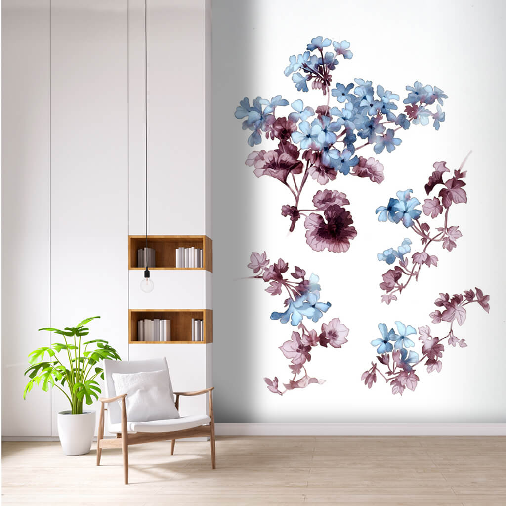 Decorative wall mural with blue purple violet flowers