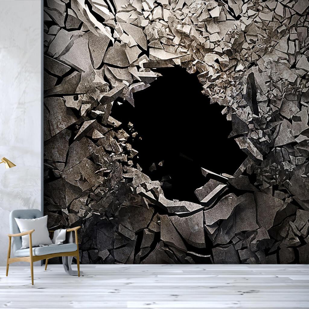 Kırık kayalar içindeki siyah delik 3 boyutlu duvar kağıdı