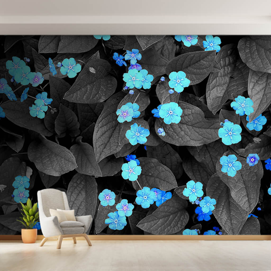 Blue violets on black leaves scalable custom wall mural