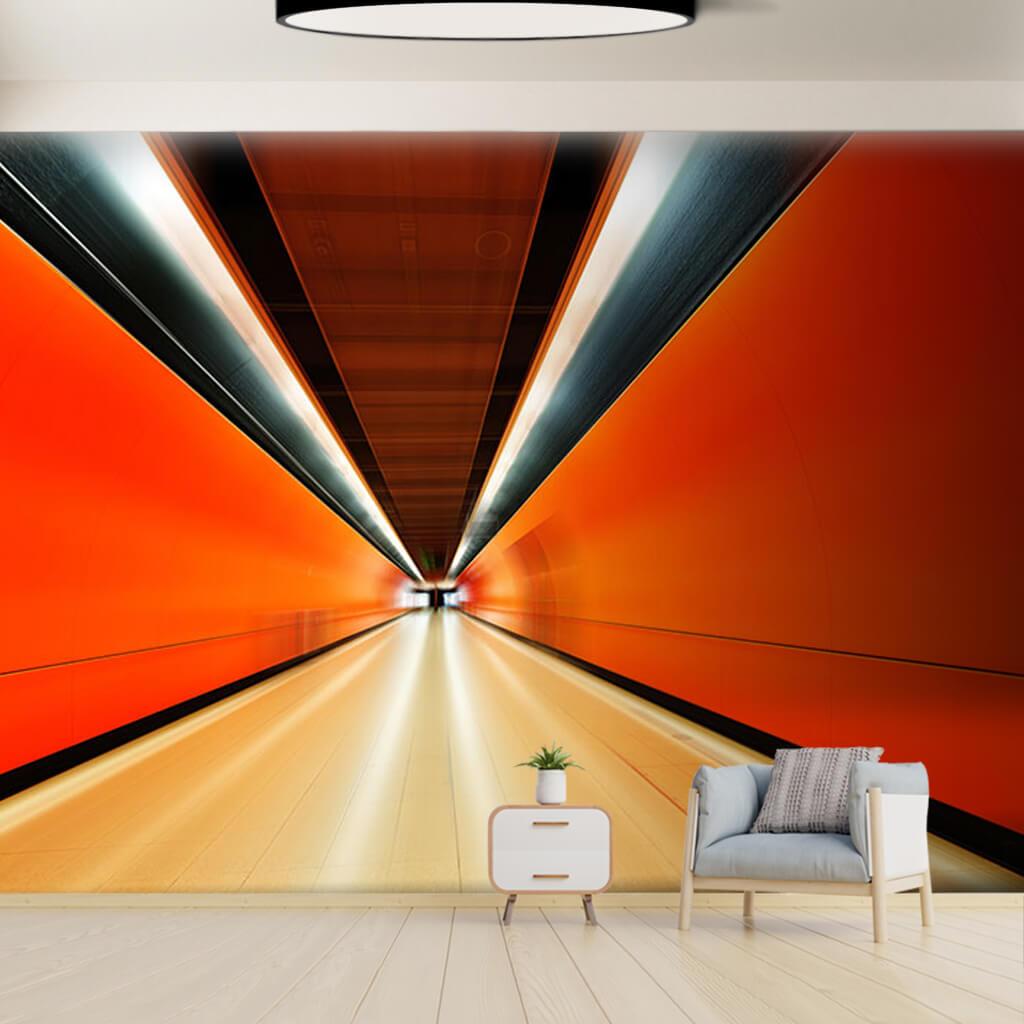 Orange hallway tunnel perspective 3D custom wall mural