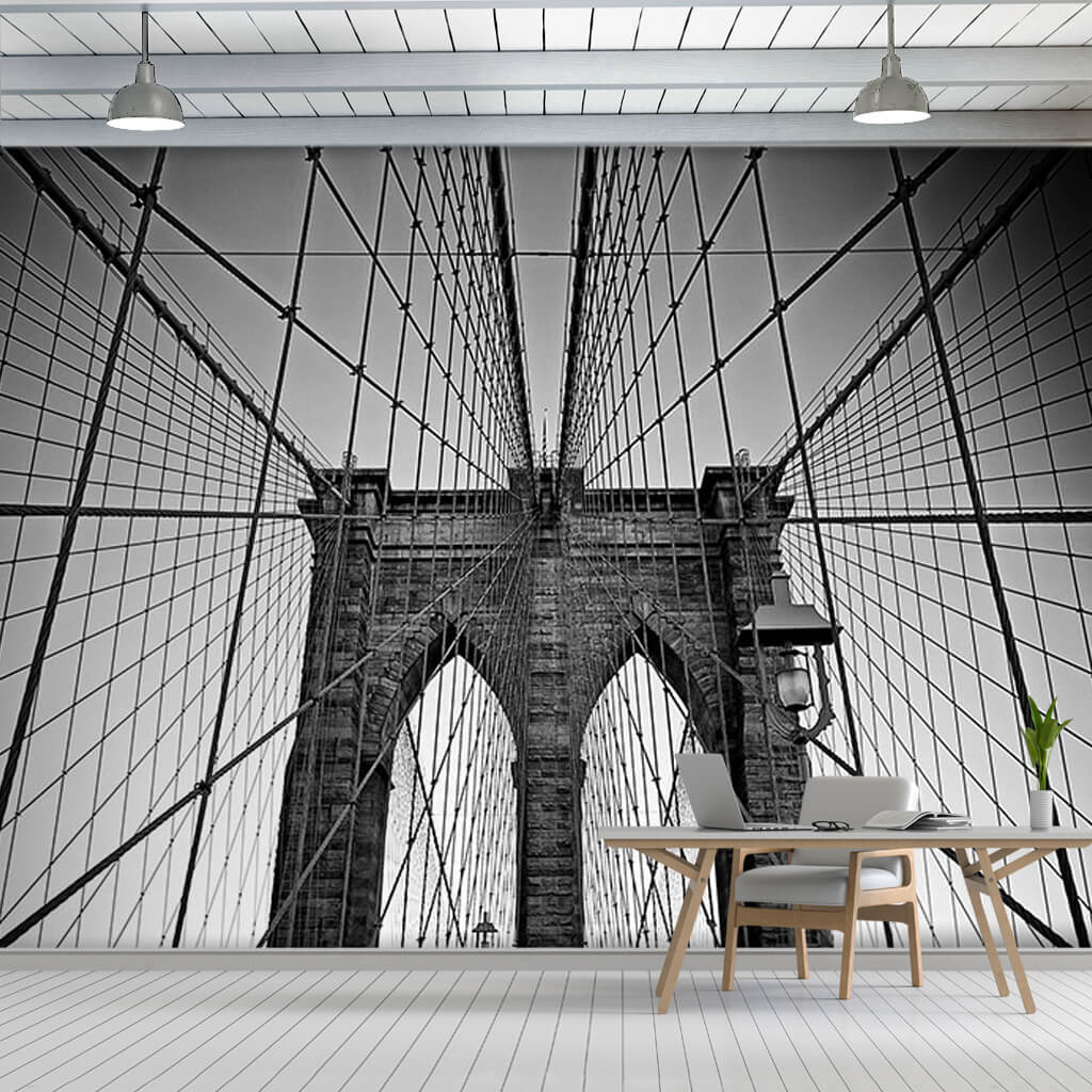 Black and White Bridge Brooklyn New York 3D wall mural
