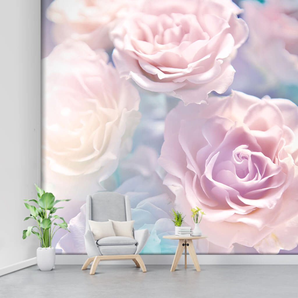 Courtesy icon soft pale pink roses custom flower wall mural