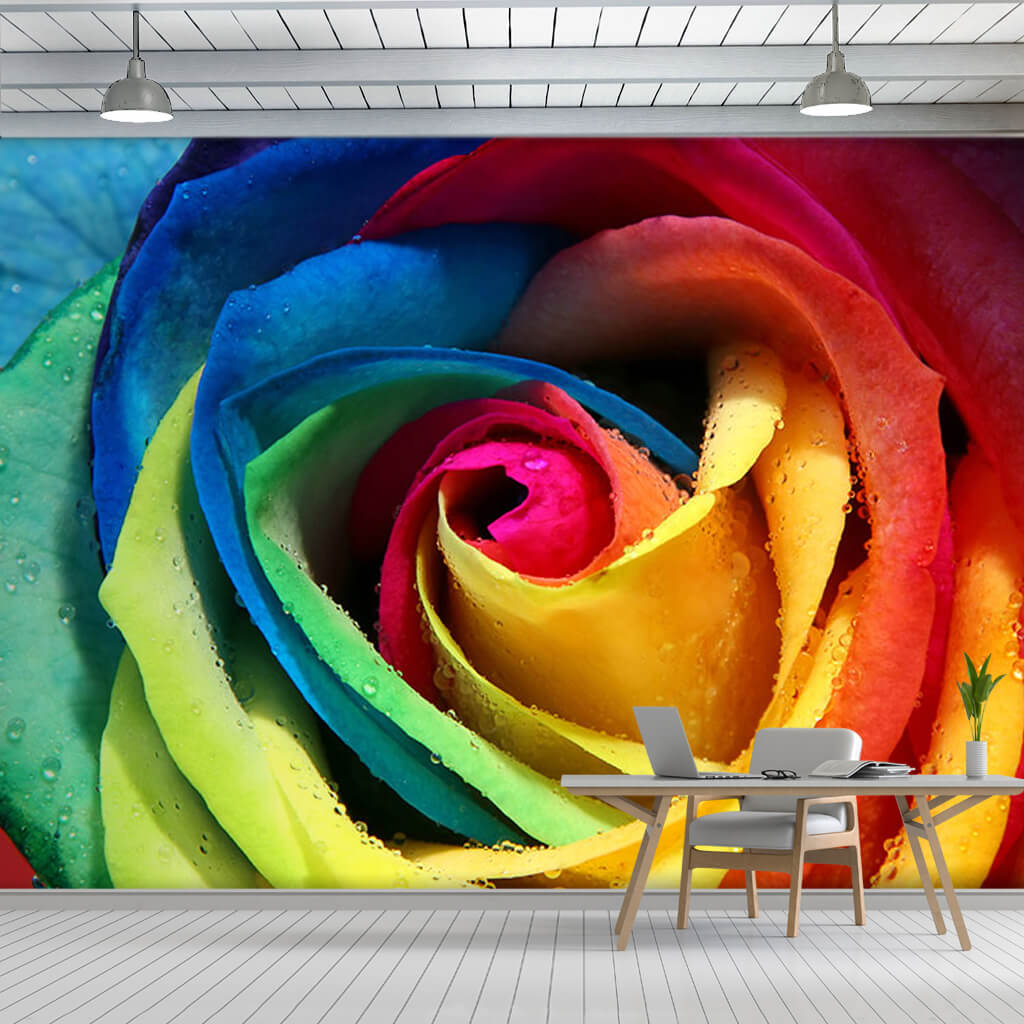Each leaf is a different colored rosebud, custom wall mural