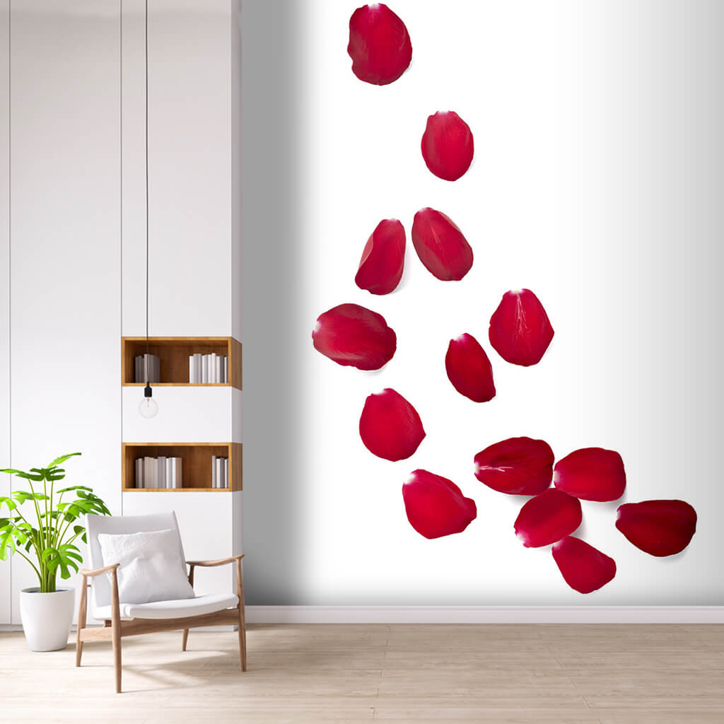 romantic theme red rose petals on white ground wall mural 2