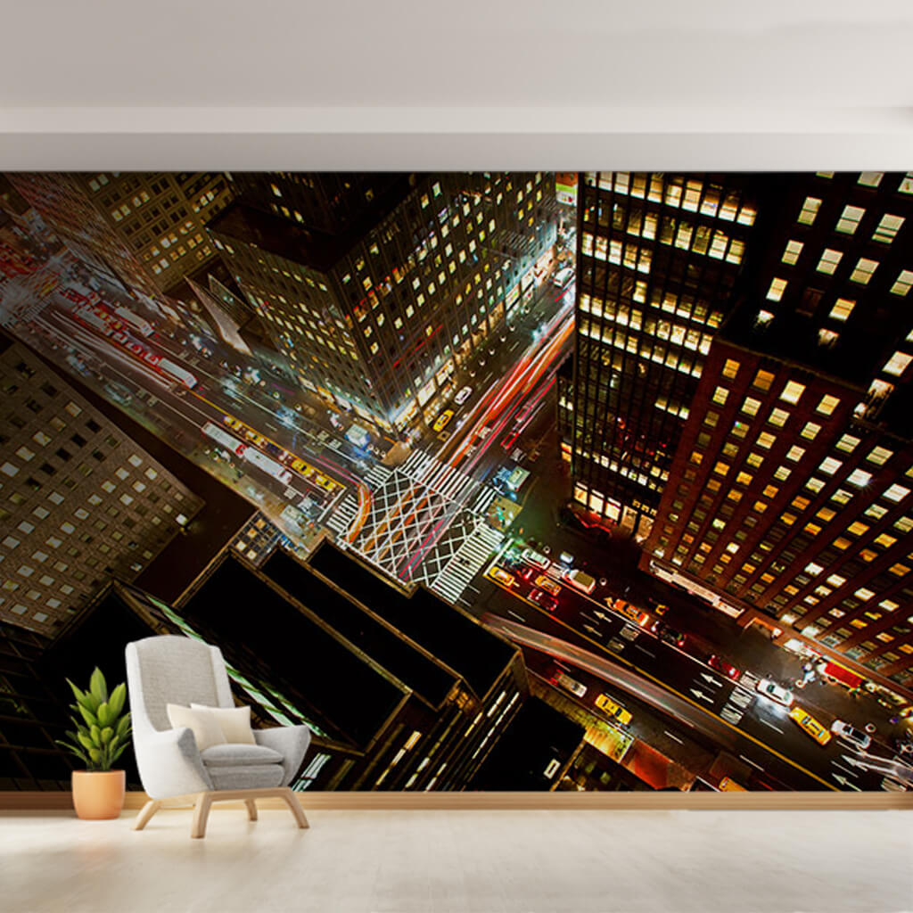 Gece gökdelenden trafik New York perspektif duvar kağıdı