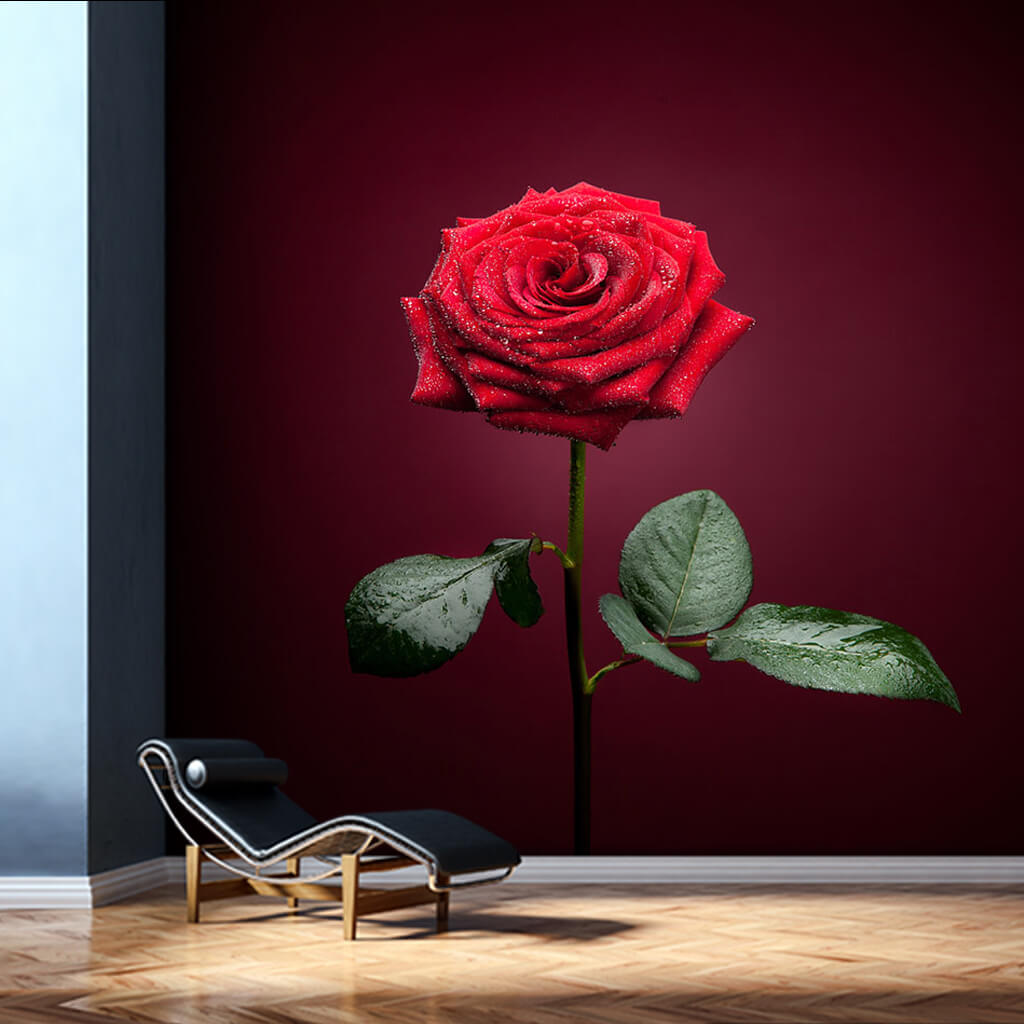 Love Icon Green Leafy Red Single Rose Custom Wall Mural