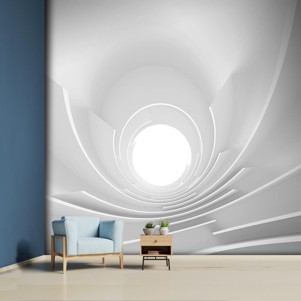 White plaster tunnel, interior architecture 3D, wall mural.