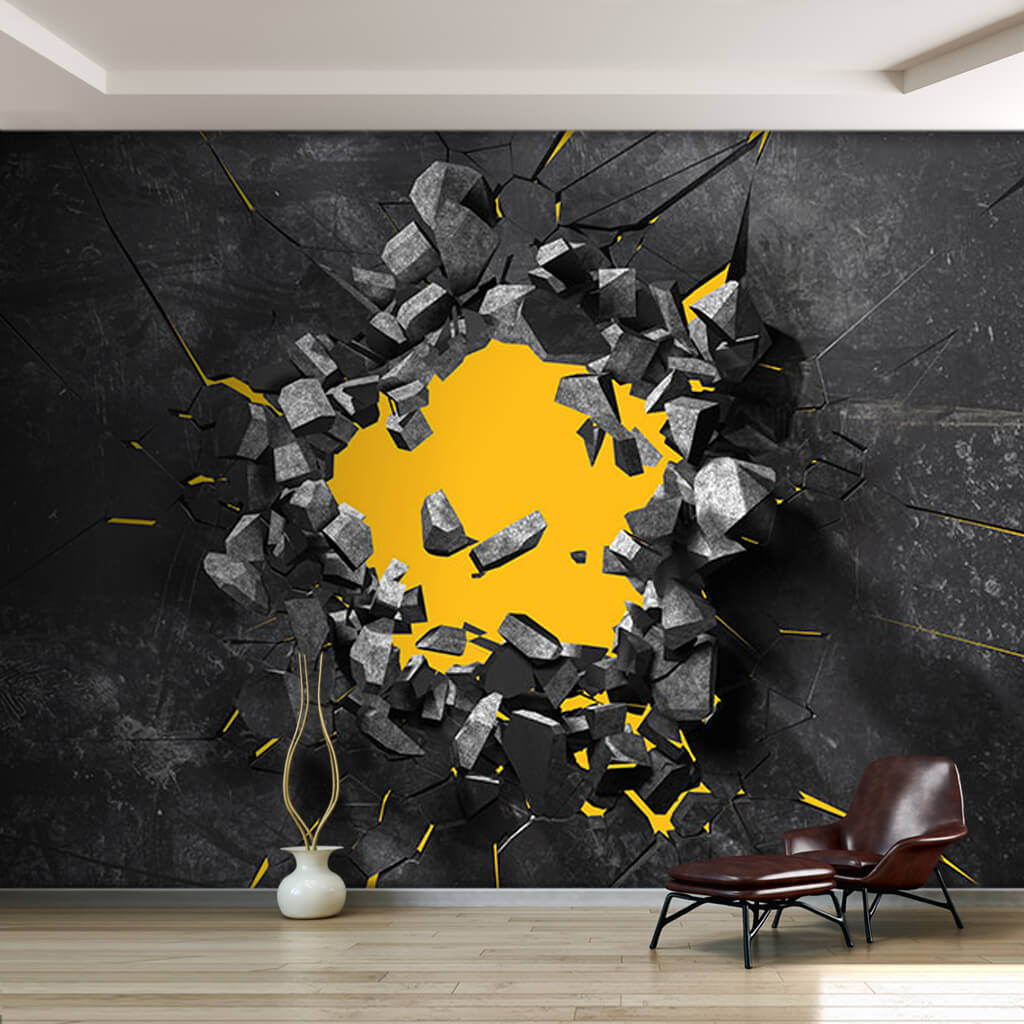 Broken yellow hole on black gray surface 3D wall mural