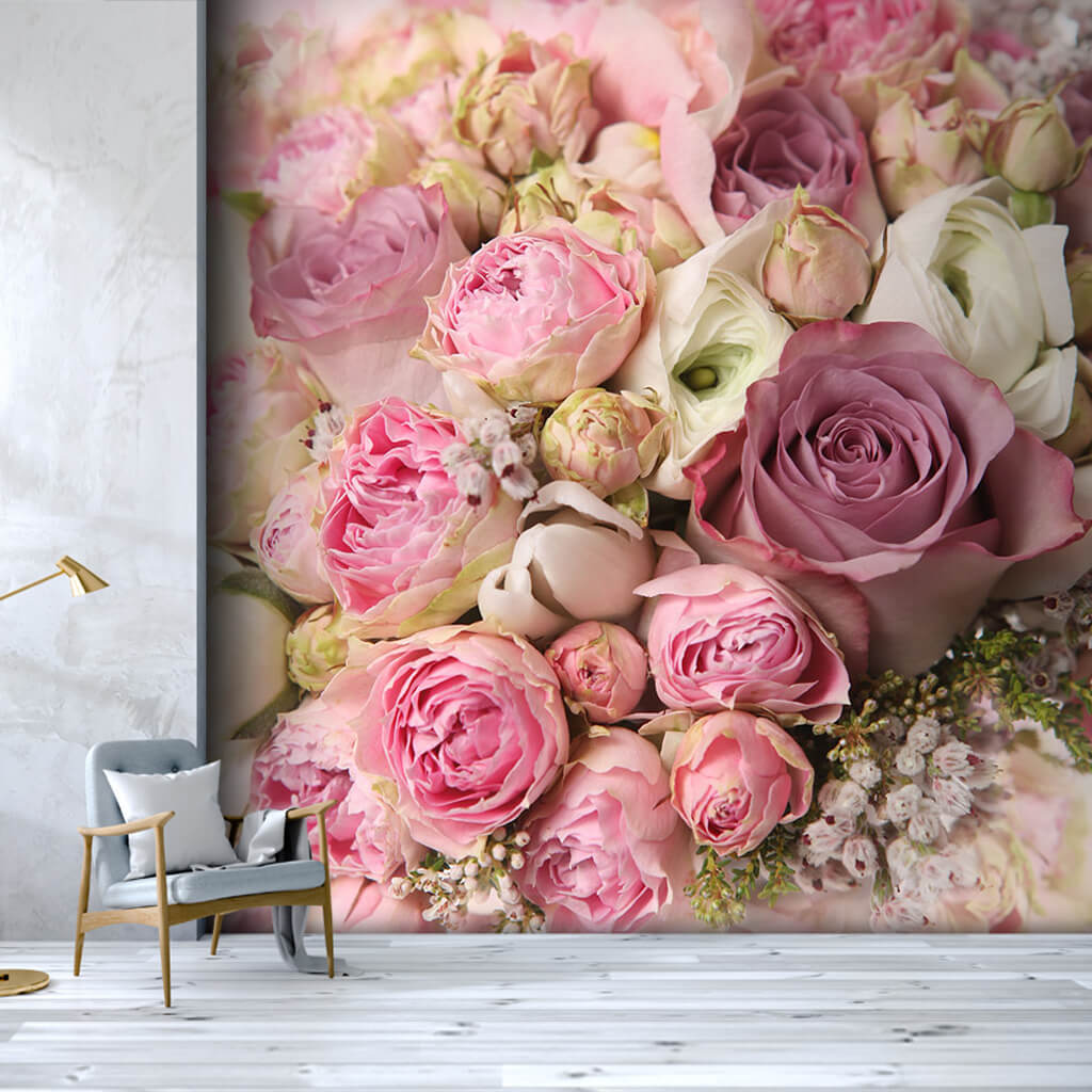 Bridal bouquet with pink white roses wallpaper wall mural