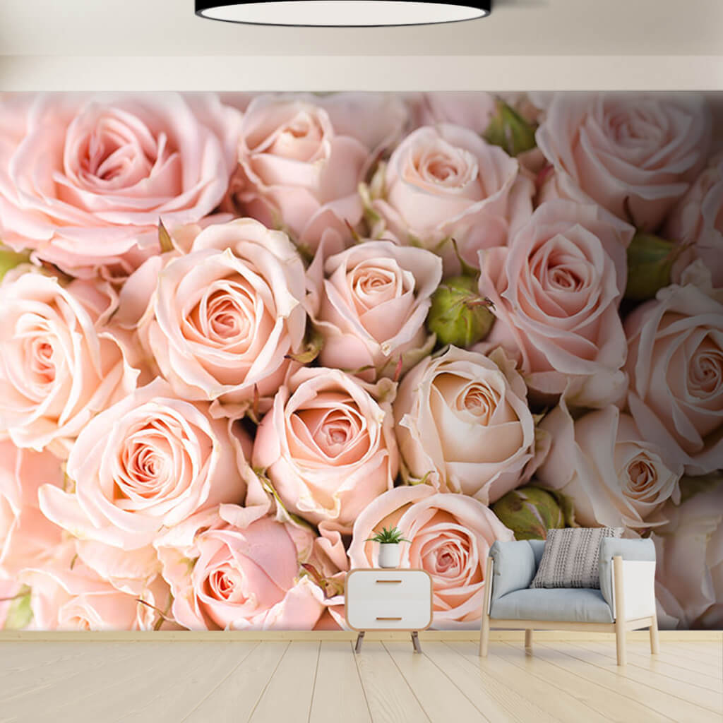 Bridal bouquet with pink rose buds wallpaper wall mural