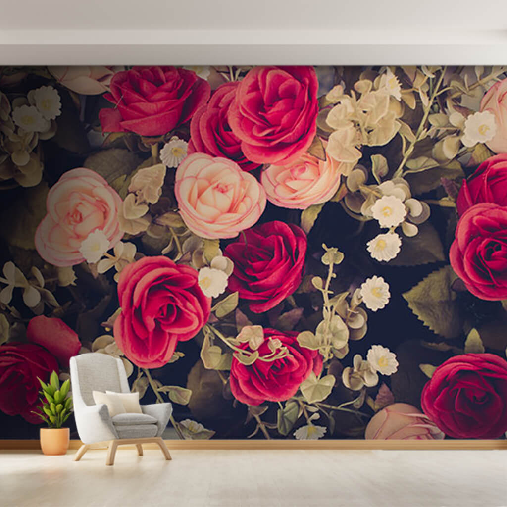 Vintage pink red ivy roses scalable custom wall mural