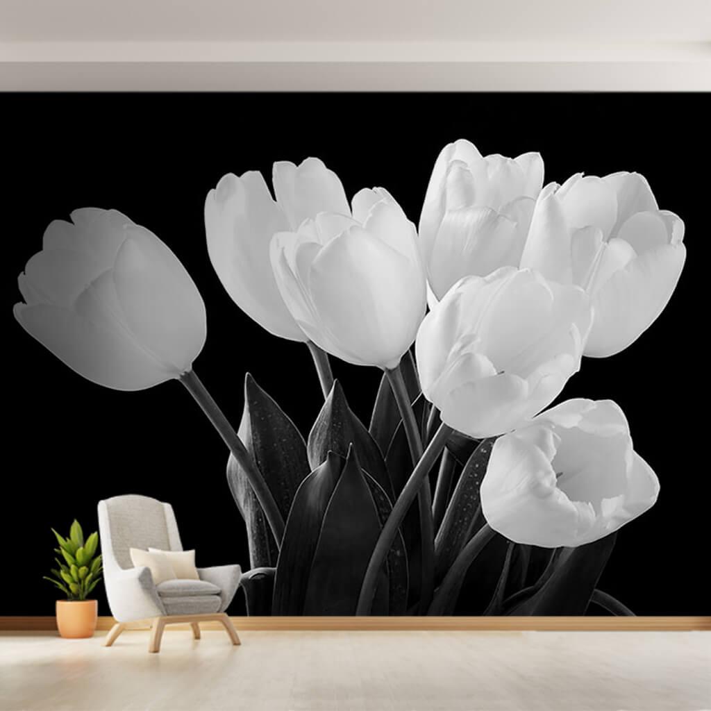Black white tulip harness flowering bedroom wall mural